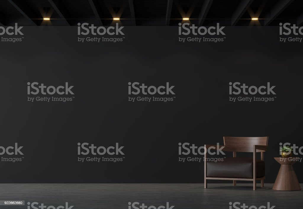Modern loft living room with black wall 3d rendering image. stock photo