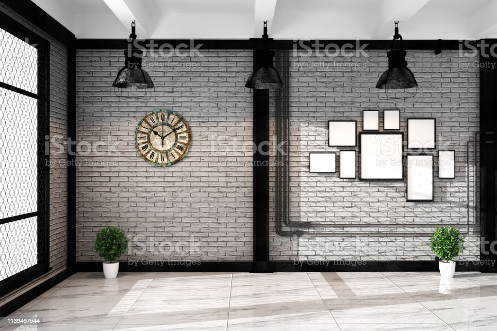 Modern Loft Living Room With Frame Lamp And Plnts Empty White Brick Wall Granite Floor Mock Up Interior 3d Rendering Stock Photo Download Image Now Istock