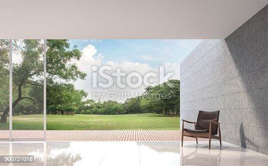 istock Modern Loft living room with garden view 3d rendering image 900727018