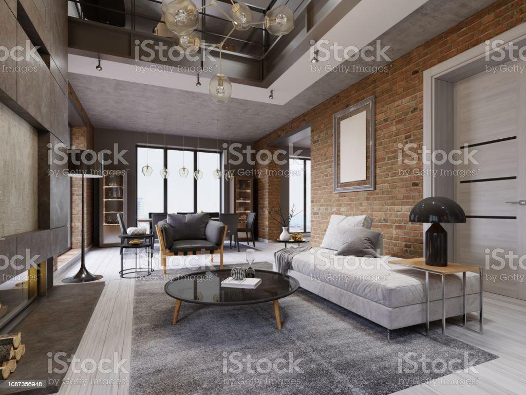 Moderne Loft Wohnzimmer Mit Hoher Decke Sofa Roten ...