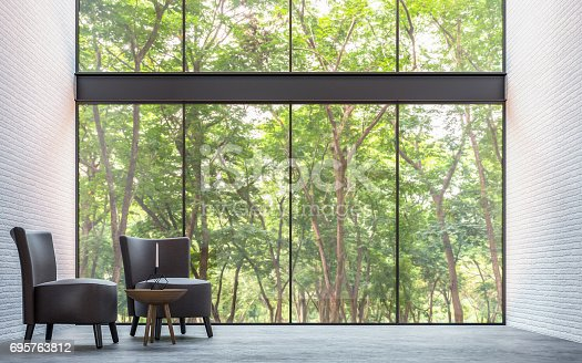 istock Modern loft living room with nature view 3d rendering image 695763812