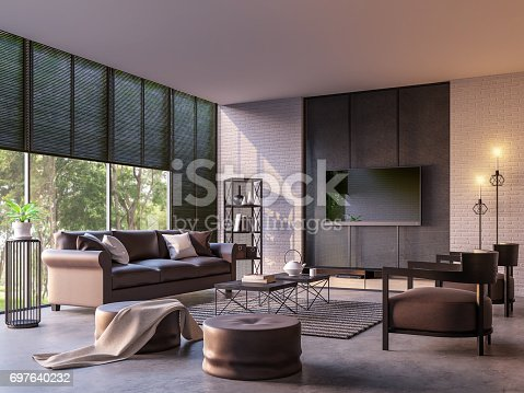 istock Modern loft living room with nature view 3d rendering image 697640232