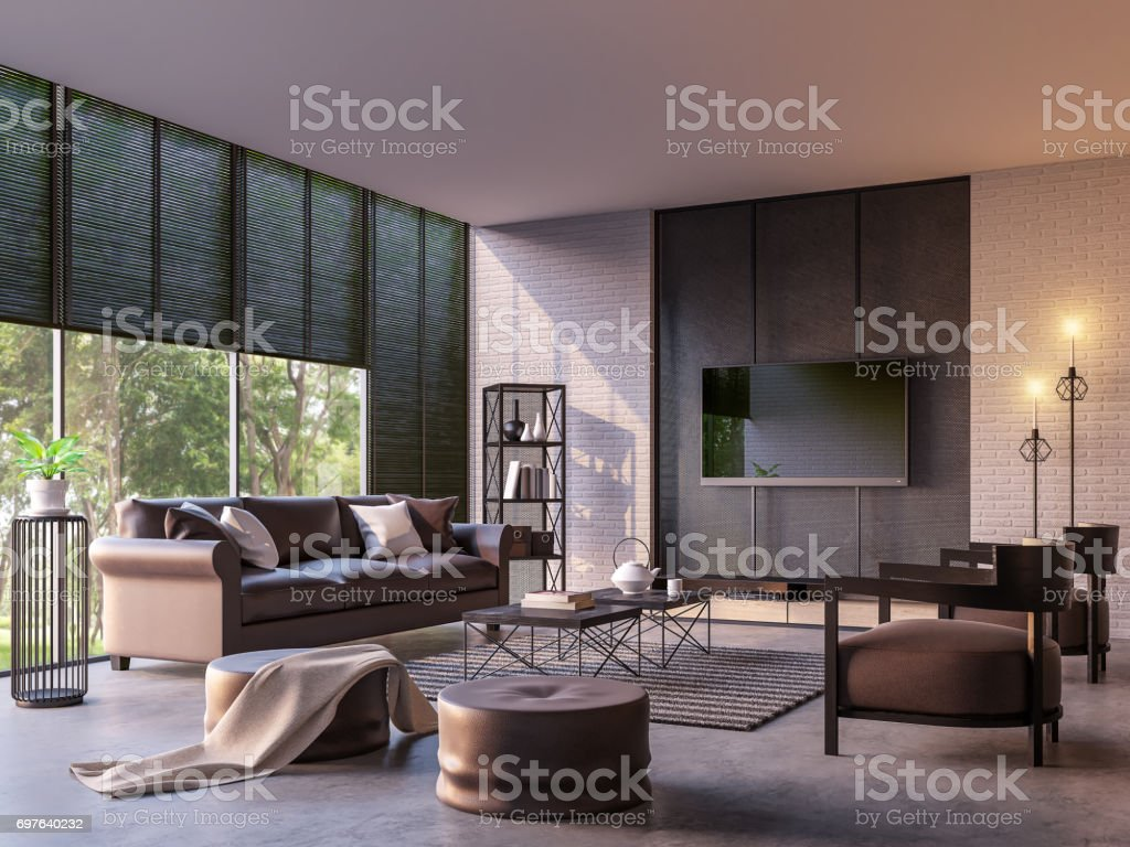 Modern loft living room with nature view 3d rendering image – zdjęcie