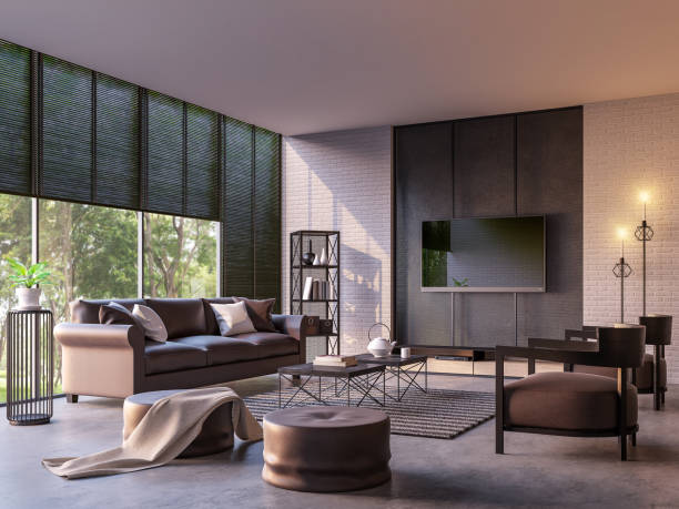modern loft living room with nature view 3d rendering image - estore imagens e fotografias de stock