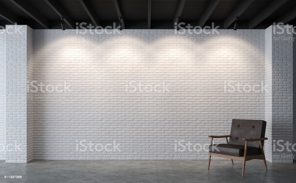 Modern loft living room with white brick wall 3d rendering image stock photo