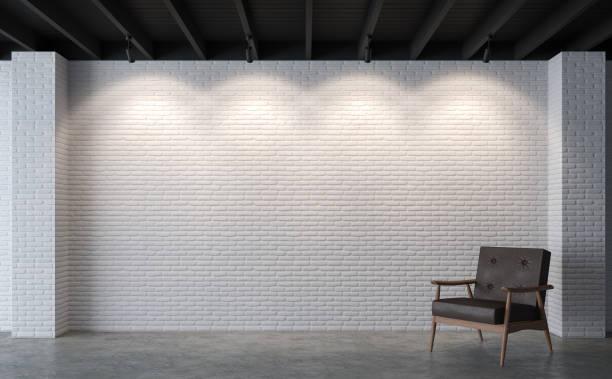 현대 로프트 거실 화이트 벽돌 벽 3d 렌더링 이미지 - 흰색 벽돌 담 뉴스 사진 이미지