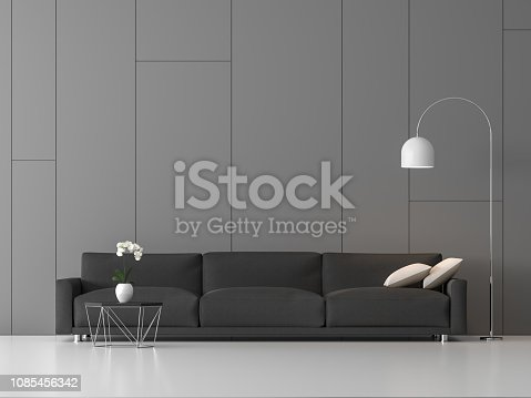 994217090istockphoto Modern loft living with random groove on gray wall 3d render 1085456342