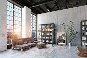 modern loft lving room. 3d rendering design concept