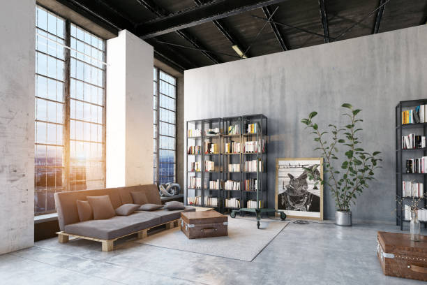 modern loft lving room. - loft apartment stock pictures, royalty-free photos & images