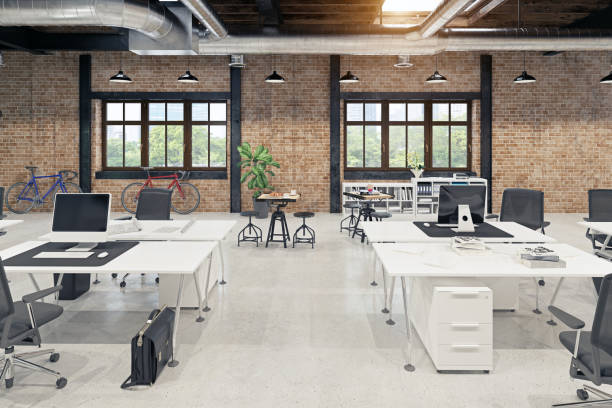 modern loft office interior modern loft  office interior. 3d rendering concept cool attitude stock pictures, royalty-free photos & images