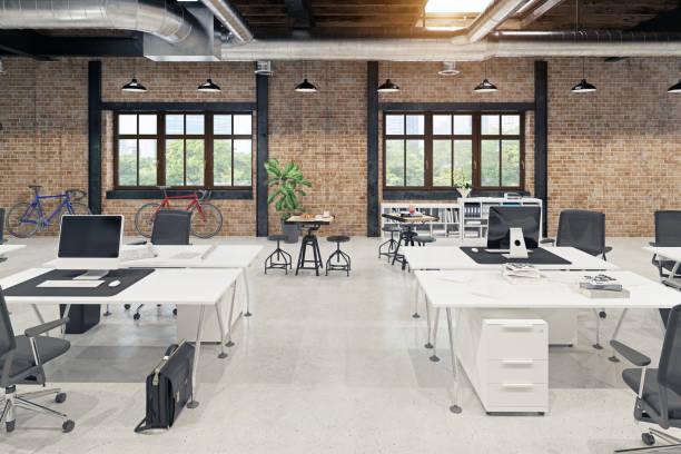 modern loft ofis iç - havalı tutum stok fotoğraflar ve resimler