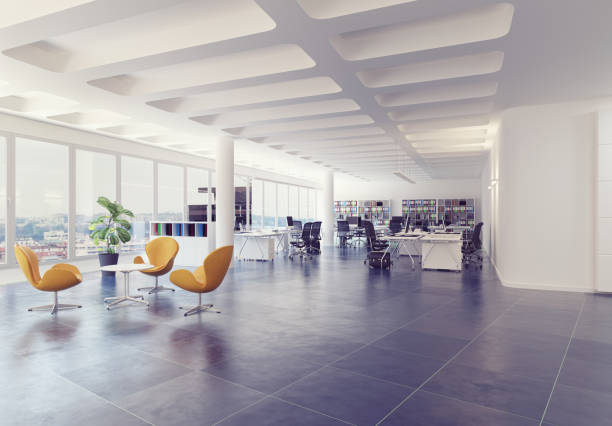 modern loft office interior. modern loft office interior. 3d rendering concept coworking stock pictures, royalty-free photos & images