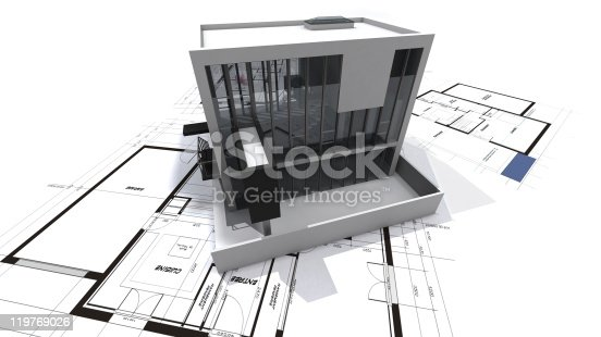 istock Modern loft on blueprints 119769026