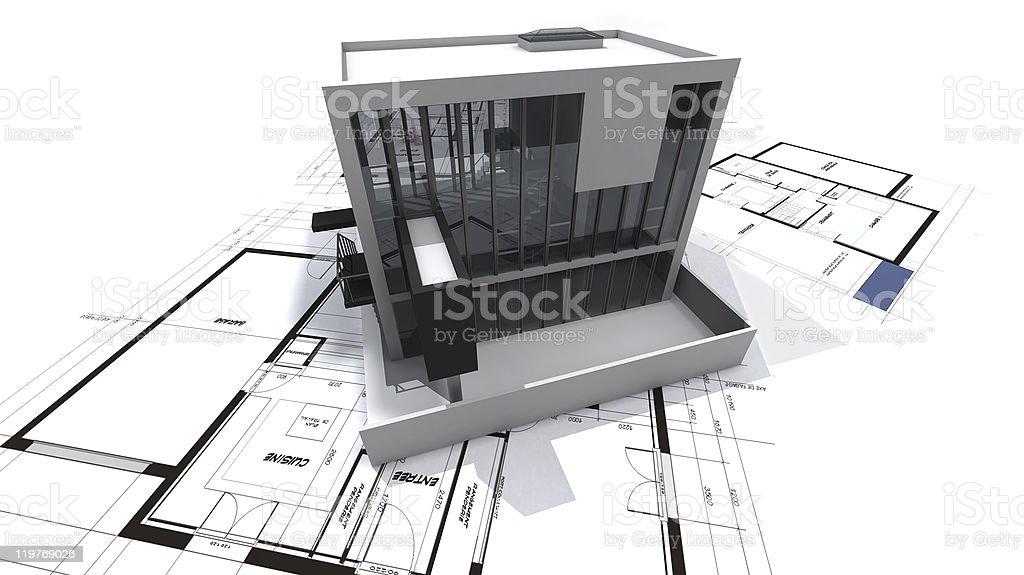 Modern loft on blueprints stock photo