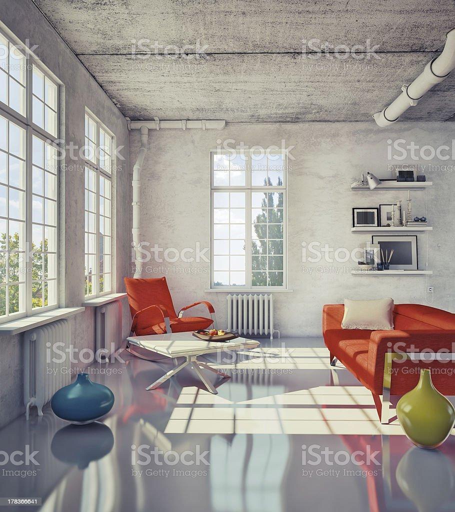 Modern loft stock photo