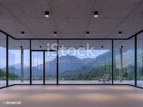 istock Modern loft room space with mountain view 3d render 1163498160