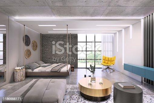 924294300istockphoto Modern loft studio apartment interior 1186666171