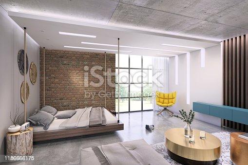 924294300istockphoto Modern loft studio apartment interior 1186666175