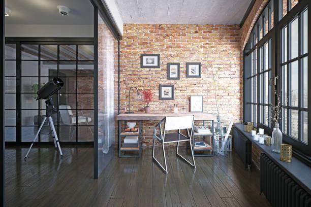 moderne loft studie interieur. - loft stockfoto's en -beelden