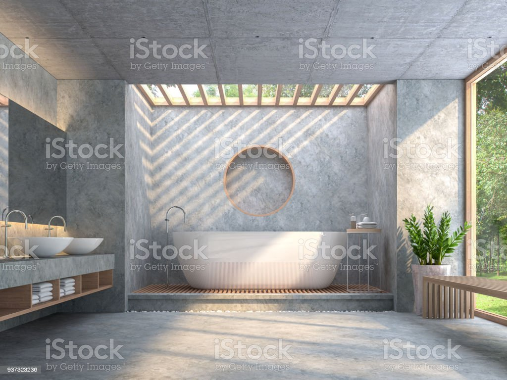 Modern loft style bathroom with polished concrete 3d render stock photo