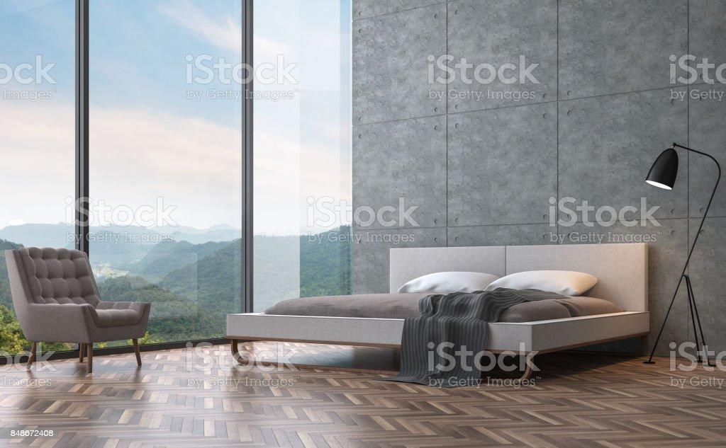Chambre Style Loft Moderne Avec Vue Sur La Montagne Image De Rendu 3D Photo  Libre De