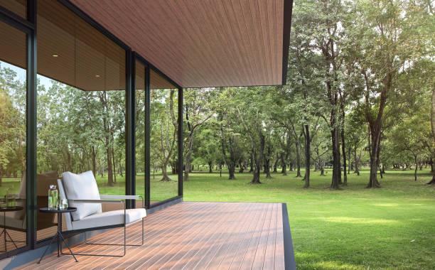 Modernes Lofthaus in einem großen Garten 3d render – Foto