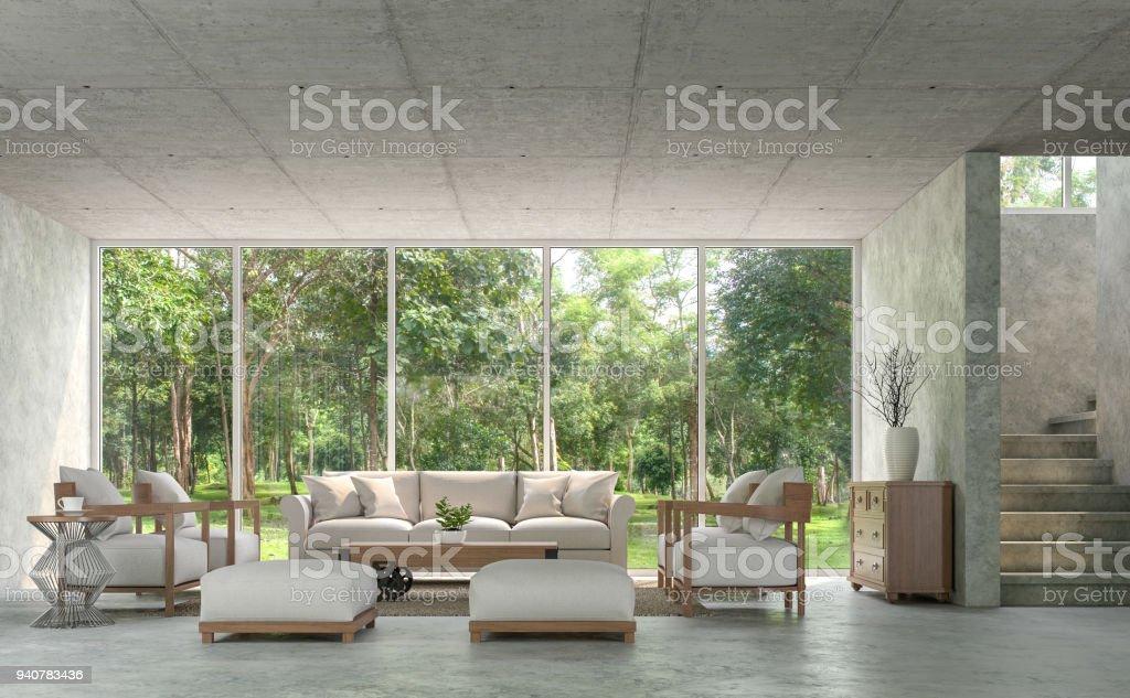 Moderne Loftstil Wohnzimmer Mit Polierten Beton 3d Render Stock