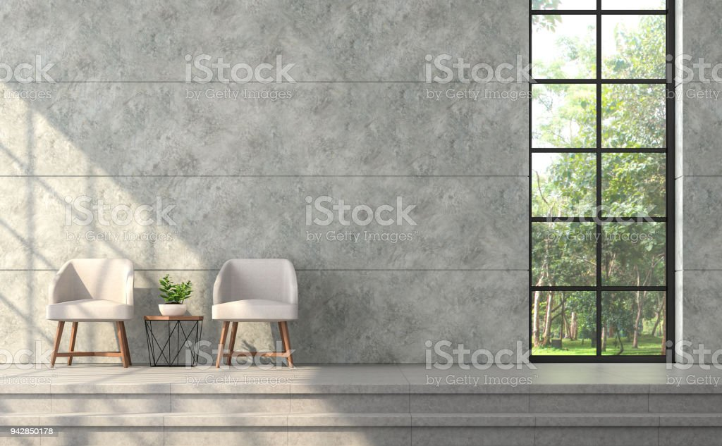 Delicieux Modern Loft Style Living Room With Polished Concrete Wall 3d Render  Royalty Free Stock Photo