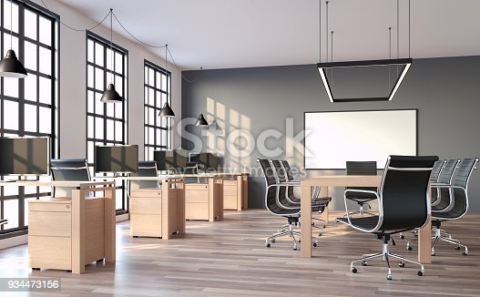 Modern loft style office with gray wall 3d render,The rooms have wooden floors and gray walls.Furnished with wood table and black leather chair. There are black window overlooking to outside.