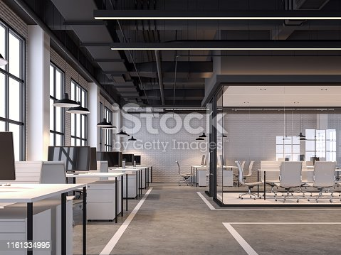 Modern loft style office 3d render.There are white brick walls, polished concrete floors and black ceilings with piping systems. decorated with white furniture, with large windows, natural light shining inside.