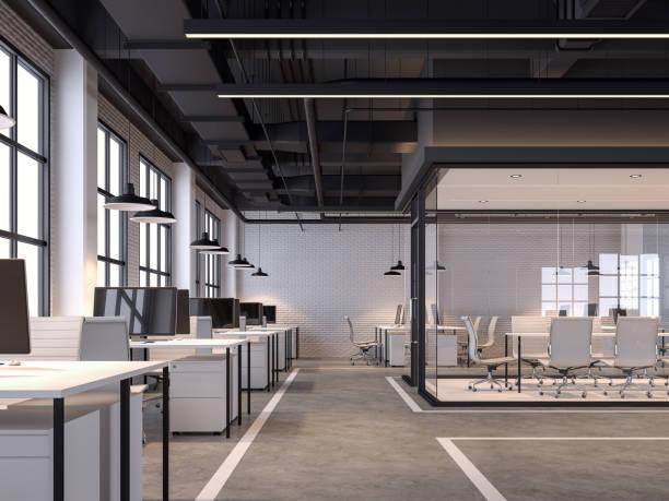 白いレンガの壁3dレンダリングが付いている現代のロフト様式のオフィス - オフィス ストックフォトと画像