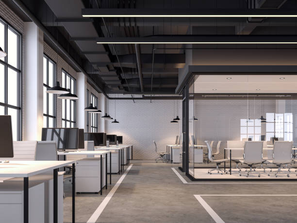 modern loft style office with white brick wall 3d render - modern office zdjęcia i obrazy z banku zdjęć