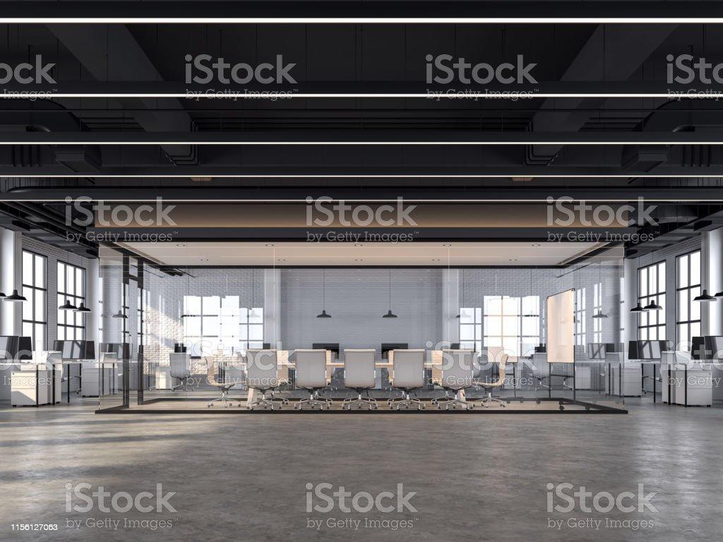 Bureau moderne de modèle de grenier avec les murs en briques blanches rendu 3d - Photo de Affaires libre de droits