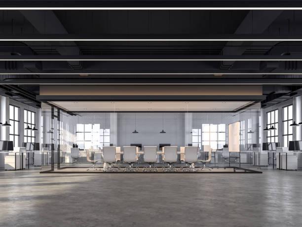 bureau moderne de modèle de grenier avec les murs en briques blanches rendu 3d - architecture intérieure beton photos et images de collection