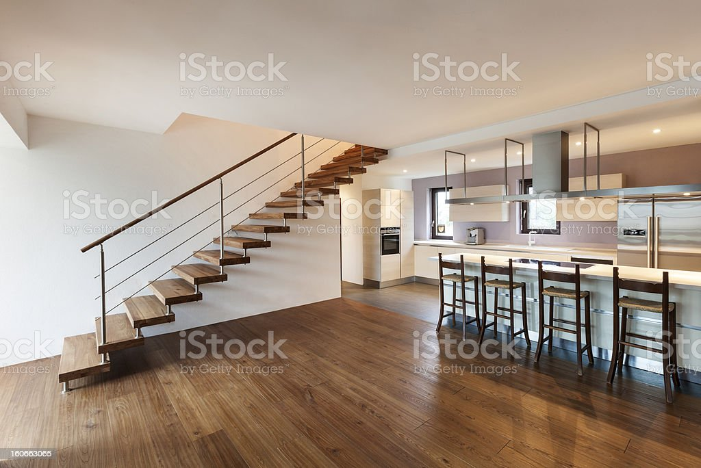modern loft, view of the kitchen stock photo