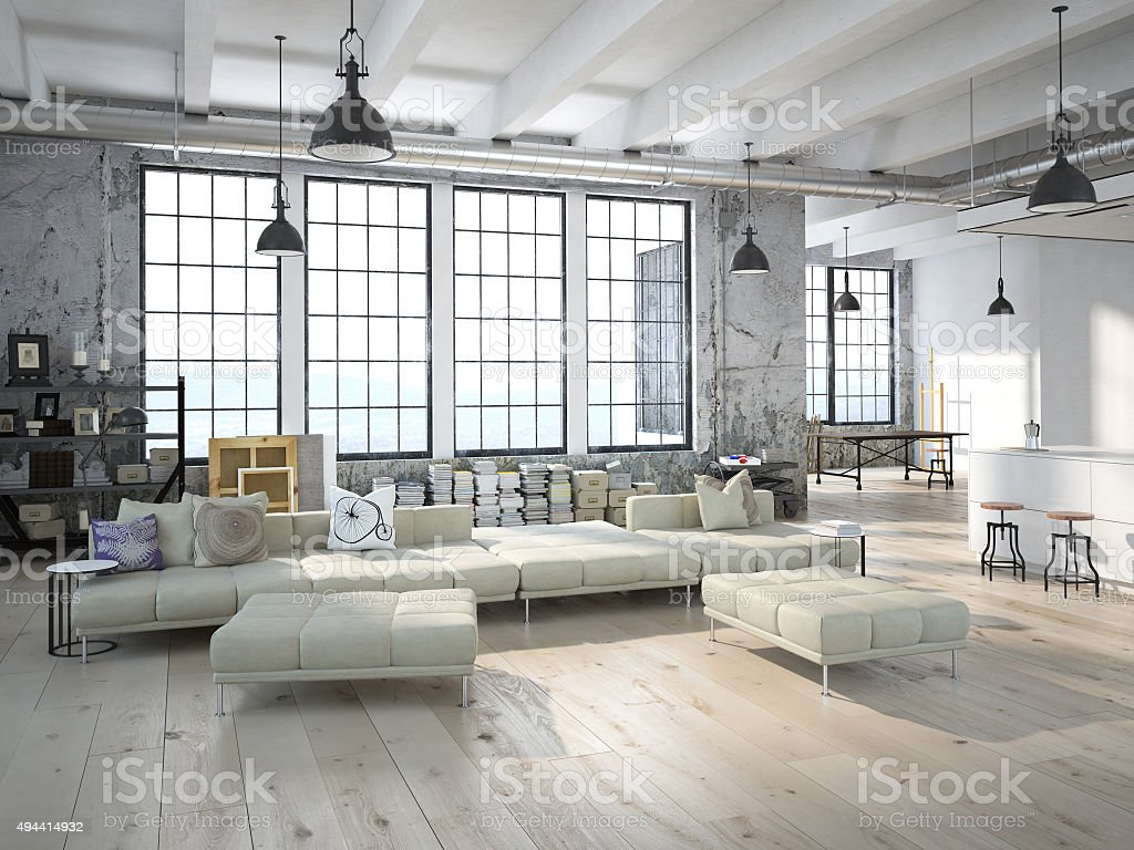 Modern Loft With A Kitchen 3d Rendering Stock Photo & More Pictures ...