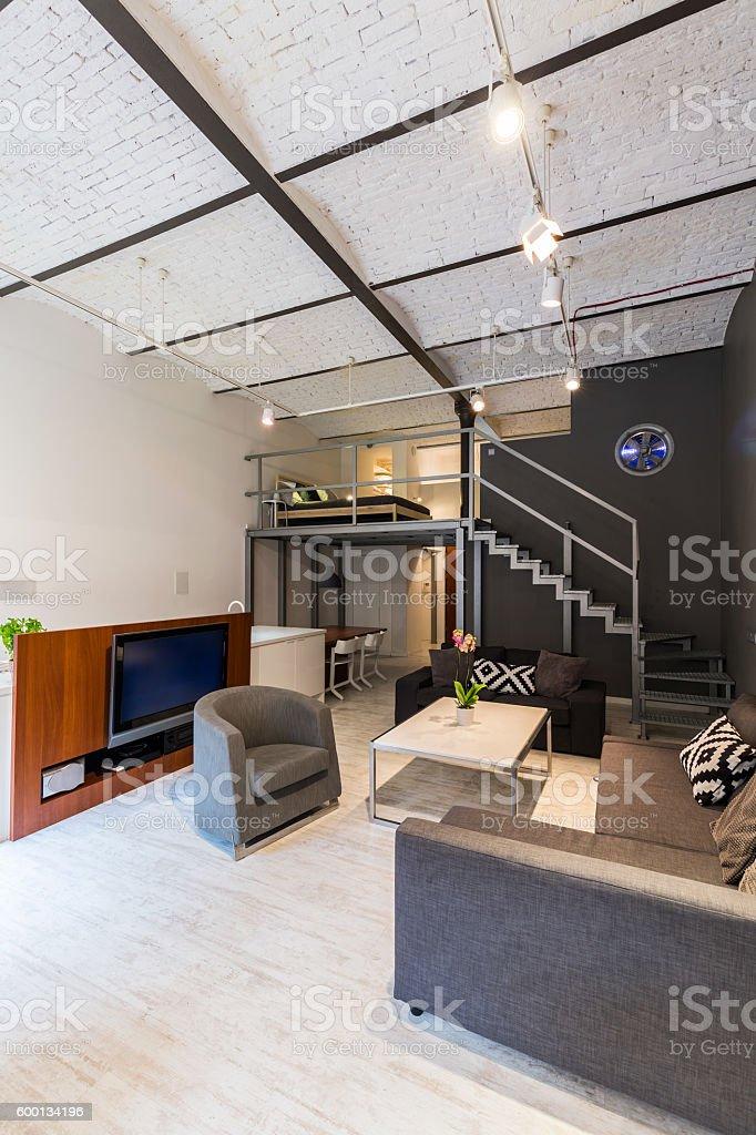 Modern loft with mezzanine idea stock photo