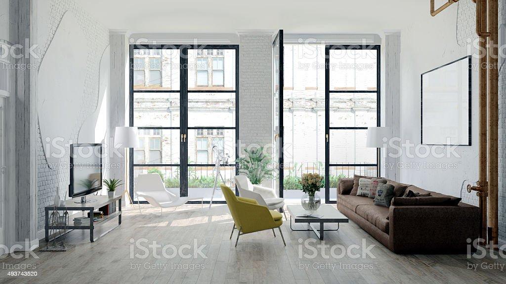 loft moderno com detalhes retro - foto de acervo