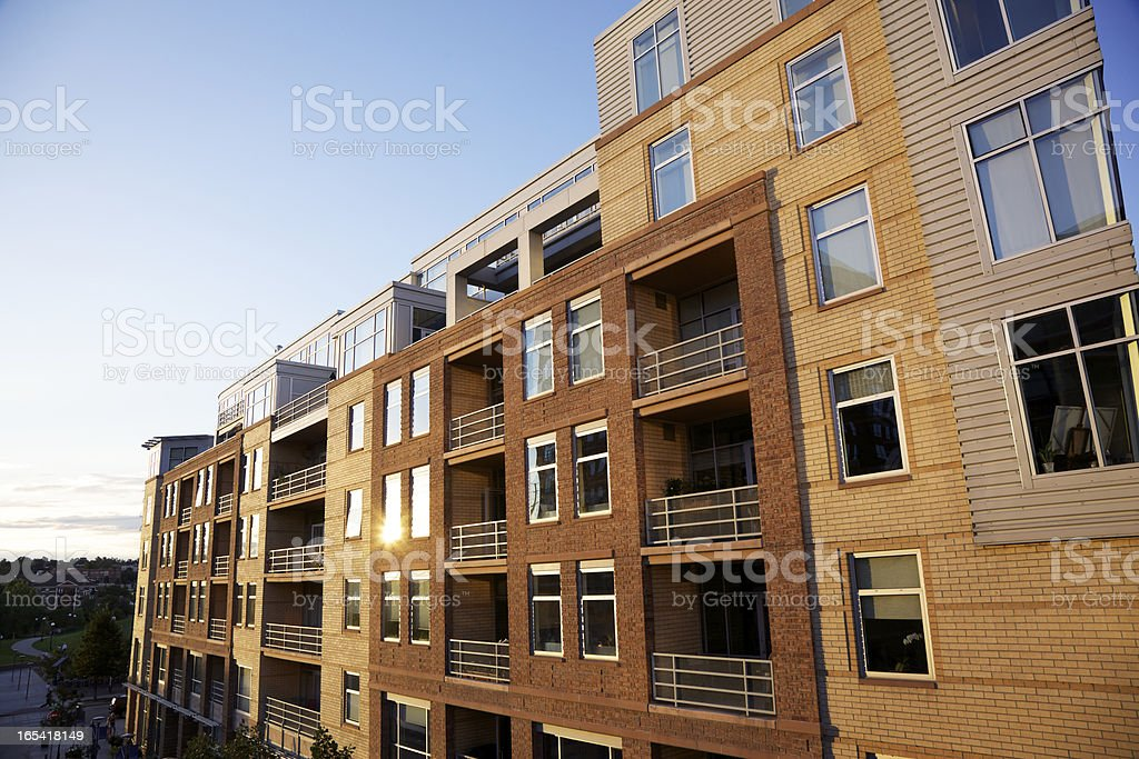Modern lofts with balconies in downtown Denver stock photo