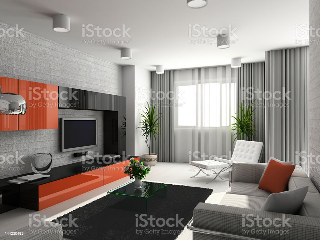 A Modern Looking Living Room With Orange And White Accents ...