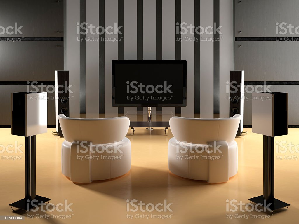A modern lounge with a large home theatre stock photo