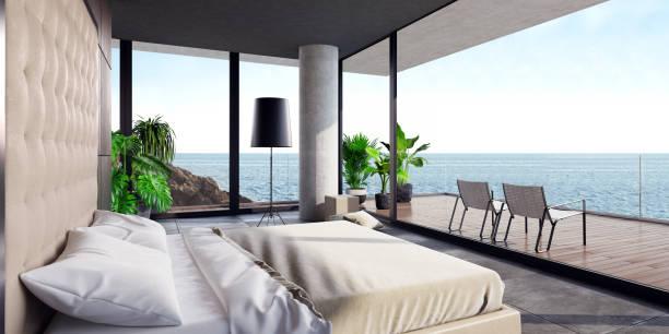 Moderne luxuriöse Zimmer mit großer Terrasse in einer Villa am Meer – Foto