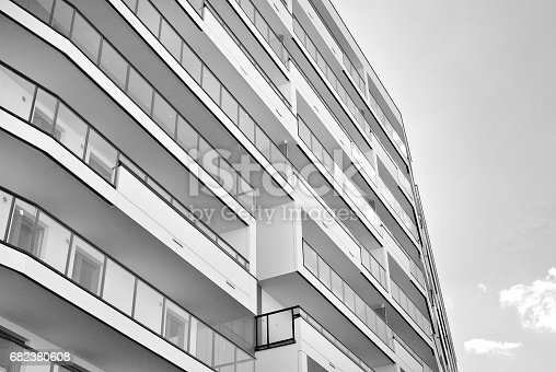680603734 istock photo Modern, Luxury Apartment Building. Black and white 682380608