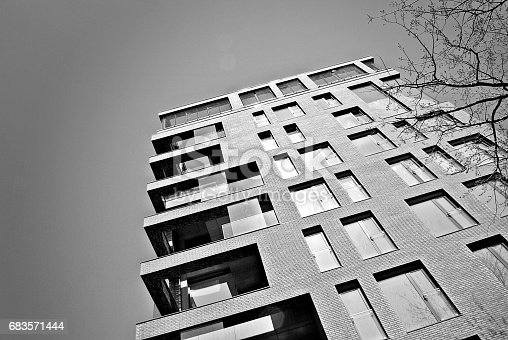 680603734 istock photo Modern, Luxury Apartment Building. Black and white 683571444