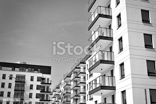 680603734 istock photo Modern, Luxury Apartment Building. Black and white 683793760