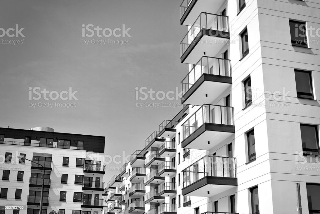 Modern, Luxury Apartment Building. Black and white stock photo
