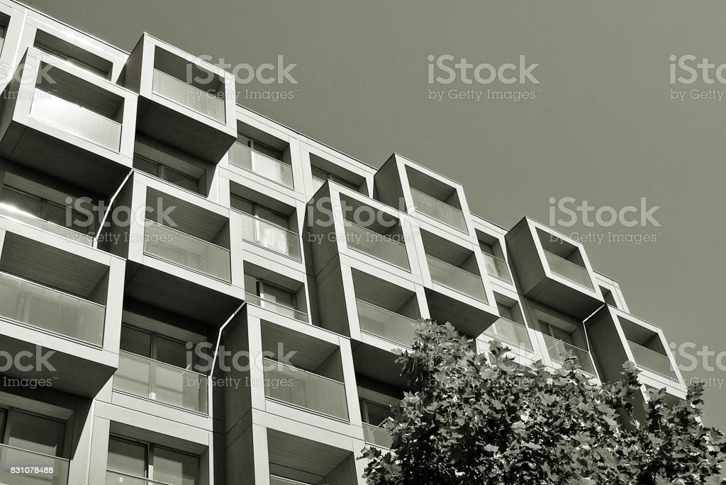 Modern, Luxury Apartment Building. Black and white. stock photo