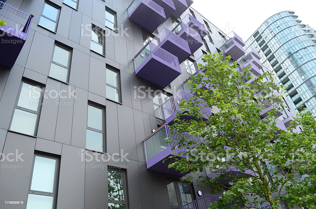 modern luxury apartment building stock photo
