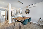 Full set of small modern luxury well staged apartment with bathroom and kitchen in a condominium in Montreal, Quebec, Canada