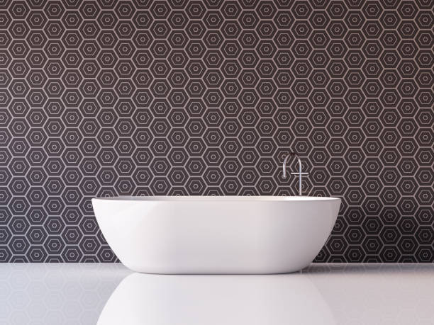 moderne luxus badezimmer 3d render bild - badezimmer wand stock-fotos und bilder